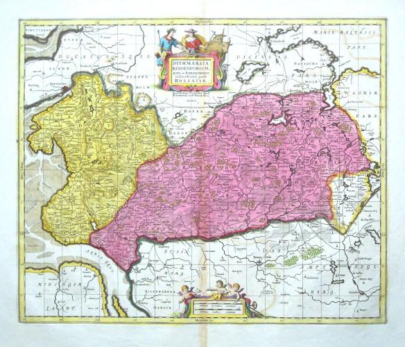 Dithmarsia, Rendesburgum, Kiel et Bordesholm in  Holsatiae - Alte Landkarte