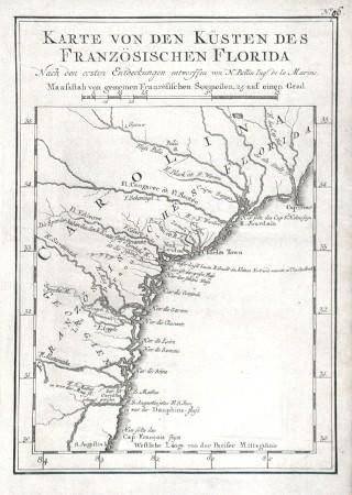 Karte von den Küsten des Französischen Florida - Alte Landkarte