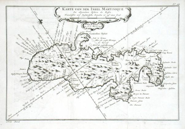 Karte von der Insel Martinique - Stará mapa