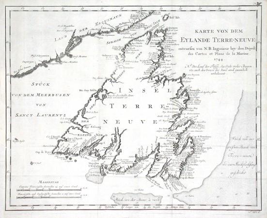 Karte von dem Eylande Terre-neuve - Alte Landkarte