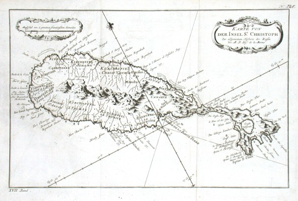 Karte von der Inset St. Christoph - Alte Landkarte