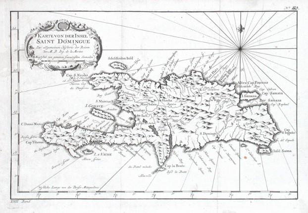 Karte von der Insel Saint Domingue - Stará mapa