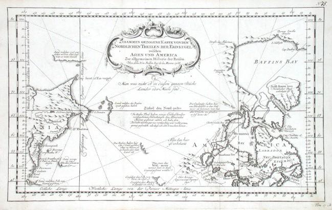 Zusammen gezogene Karte von den Nordlichen Theilen der Erd-kugel - Alte Landkarte