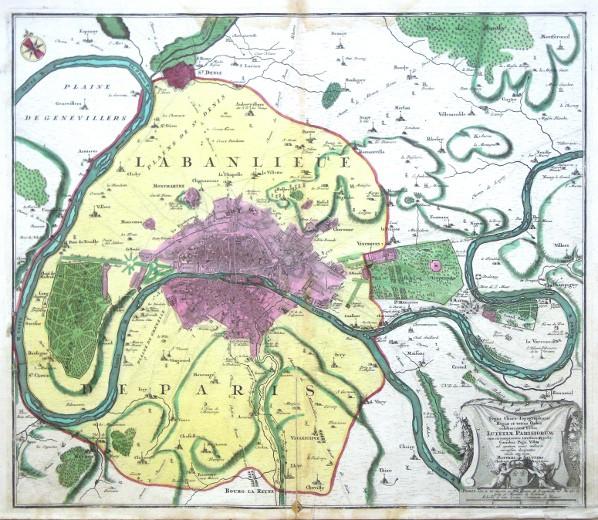Paříž - Typus Choro- Topographicus  celeberrimae Urbis Lutetiae Parisiorum - Stará mapa
