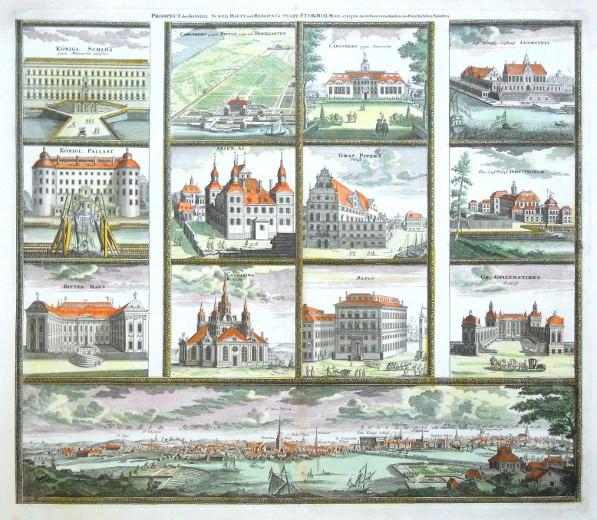 Prospect der Königl: Scwed: Haupt und Residentz-Stadt Stokholm - Alte Landkarte