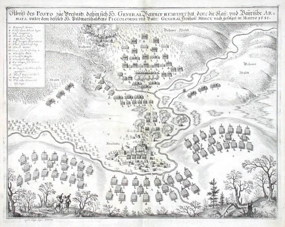 Abriss des Posto zue Bressnitz - Alte Landkarte