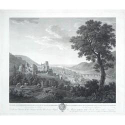 Premiere vue generale du Chateau et du Vallon de Heidelberg  Erste allgemeine Ansicht  von Heidelberg