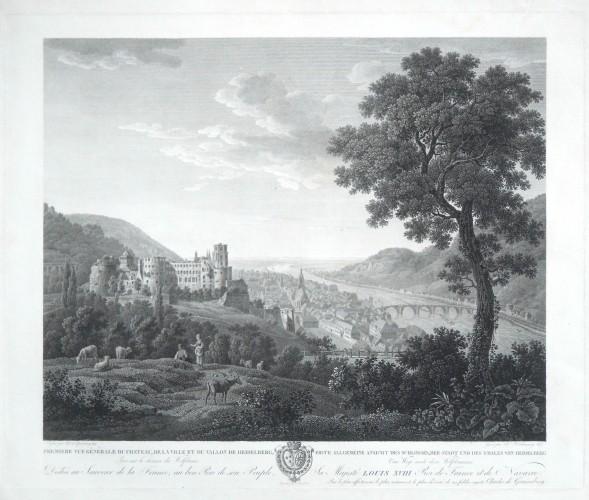 Premiere vue generale du Chateau et du Vallon de Heidelberg  Erste allgemeine Ansicht  von Heidelberg - Stará mapa