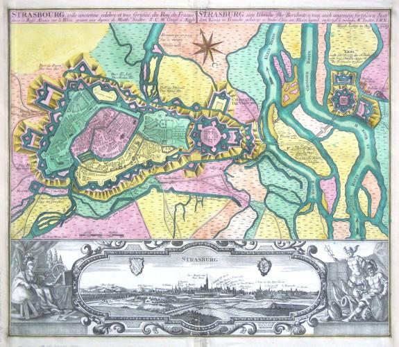 Štrasburk - Strasbourg, ville ancienne  - Strasburg, eine Uhralte sehr Berühmte  Statt - Stará mapa