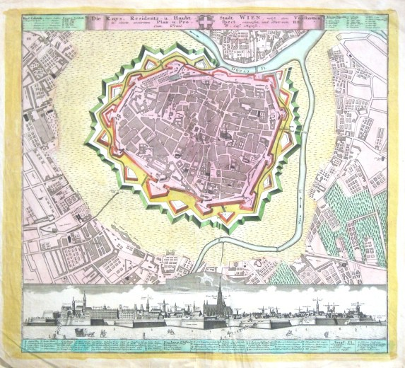 Die Kays. Residentz- u. Haubt- Stadt Wien  Plan u. Prospect - Alte Landkarte