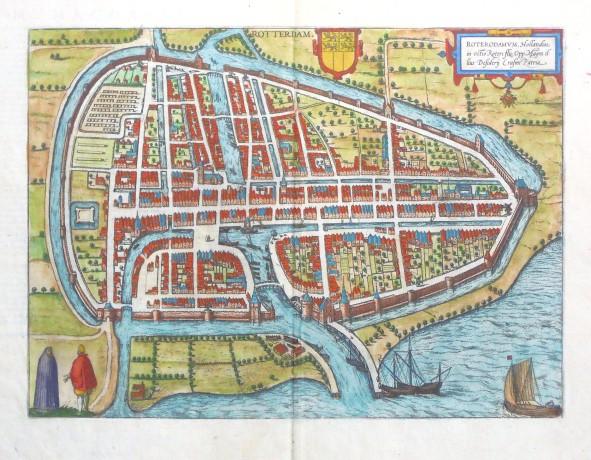 Rotterdam. Roterdamvm, Hollandiae in ostio - Alte Landkarte