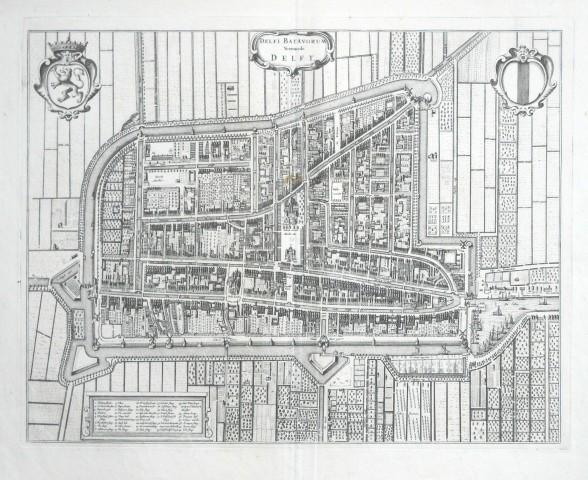 Delfi Batavorum Vernacule Delft - Stará mapa