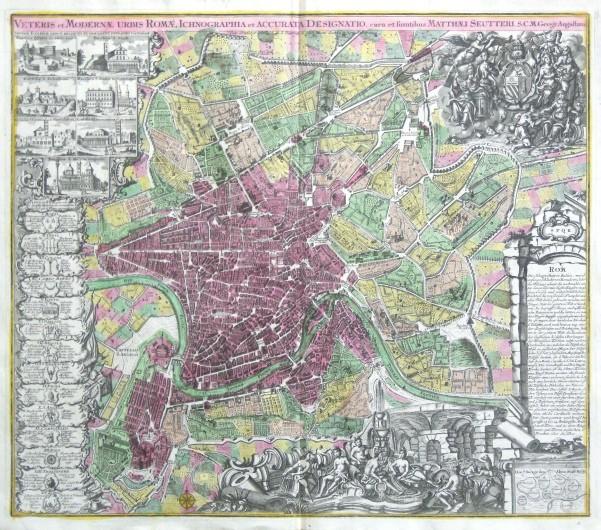 Veteris et Moderna urbis Romae Ichonographia et Accurta Designatio - Alte Landkarte