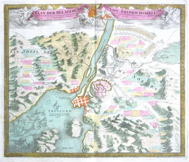 Plan der Belagerung von Fridrichshall - Antique map