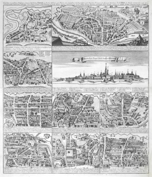 Vídeň - Accuratus  Prospectus  Viennae  - Eigentlicher  Prospect der  Stadt Wien - Stará mapa