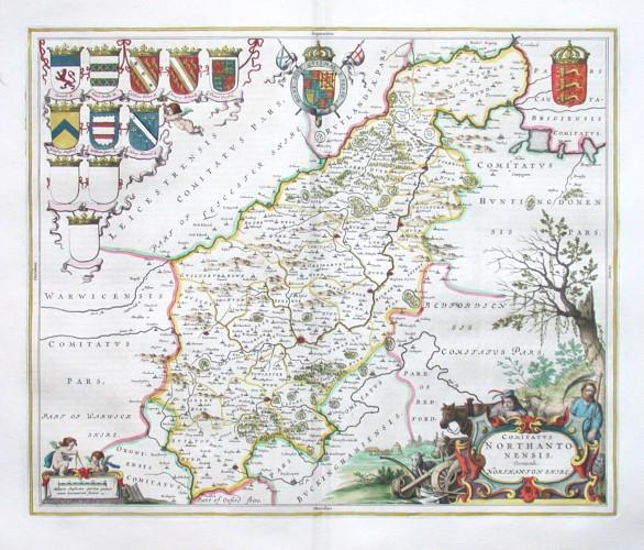 Comitatvs Northantonensis, Vernacule Northamton shire - Stará mapa