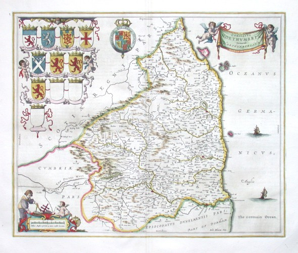 Comitatvs Northvmbria, Vernacule Northumberland - Stará mapa