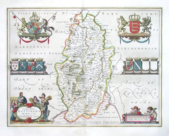 Comitatvs Nottinhghamiensis - Nottingham shire - Stará mapa