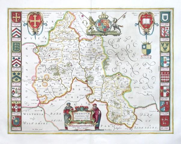 Oxonium Comitatus, Vulgo Oxford shire - Stará mapa