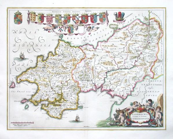 Penbrochia Comitatus et Comitatus Caermaridvnvm - Stará mapa