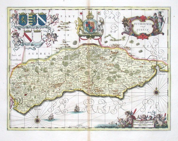 Suthsexia vernacule Sussex - Stará mapa