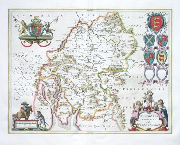 Westmoria Comitatvs - Anglice Westmorland - Stará mapa