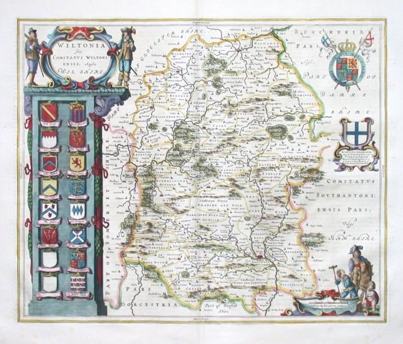 Wiltonia sive Comitatvs Wiltoniensis - Anglis Wilshire - Stará mapa