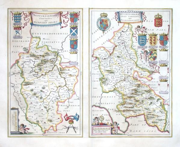Bedfordiensis Comitatvs  Bvckinghamiensis Comitatvs - Stará mapa