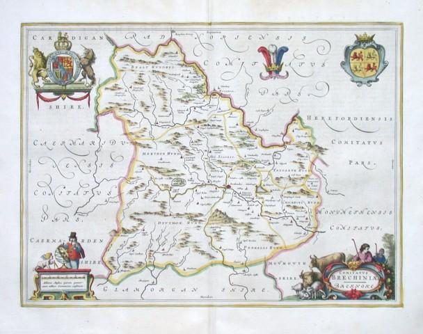 Comitatvs Brechiniae. Breknoke - Stará mapa