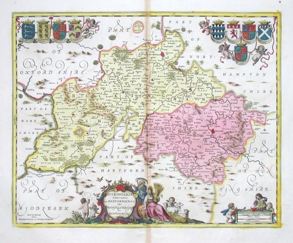 Buckingamiae comitatvs cum Dedfordiensi - vulgo Buckingamshire and Bedfordshire - Stará mapa