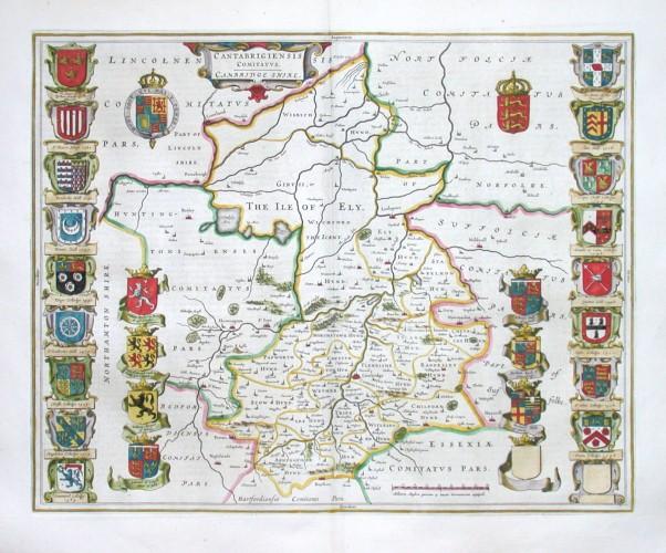 Cantabrigiensis Comitatus. Cambridge shire - Stará mapa
