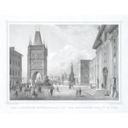 Der altstaedter Brueckenplatz mit dem Monumente Carl IV in Prag