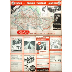 Protektorát Čechy a Morava. Silniční mapa pro motoristy