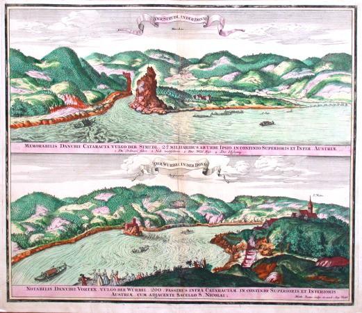 Der Strudl an der Donau. Der Würbel in der Donau. - Alte Landkarte