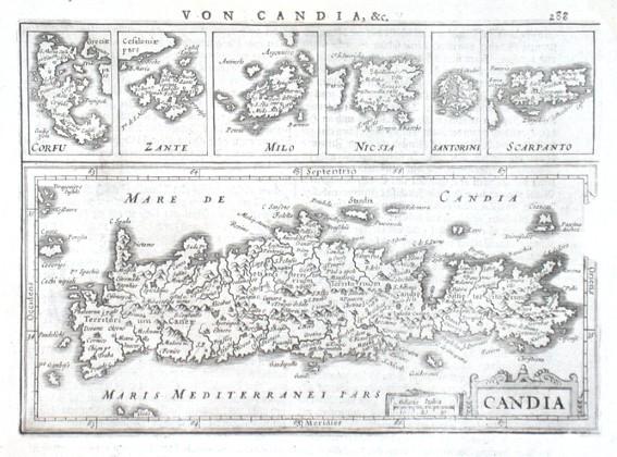 Candia, Corfu, Zante, Milo, Nicsia, Santorini, Scarpanto