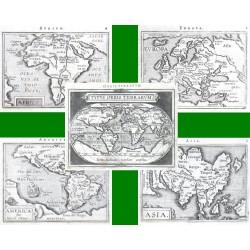 Welt und Kontinente - Typus Orbis Terrarum + Europa + Asia + Africa + Novus Orbis