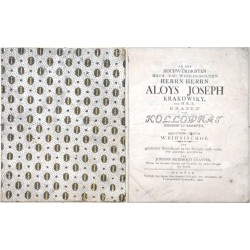 An den hochwürdigsten  Herrn Herrn Aloys Joseph Krakowsky, des  Grafen von Kollowrat