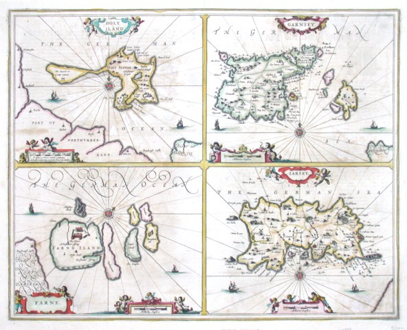 Holy Iland - Garnesey - Farne - Iarsey - Stará mapa