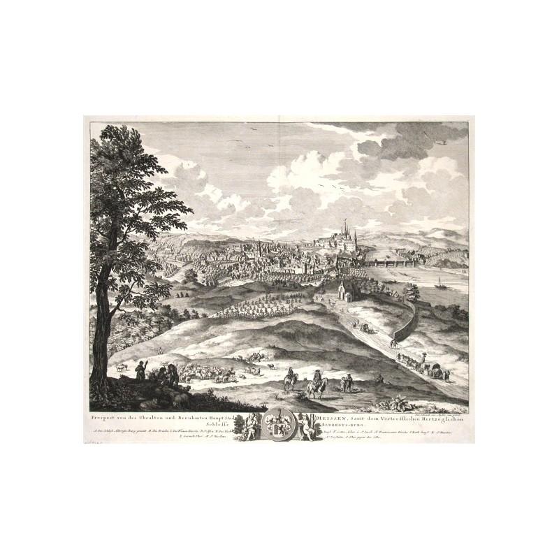 Prospect von des Uhralten und Beruhmten Haupt Stadt Meisse, Samt dem Vortrefflichen Hertzoglichen Schlosse Albregts-burg