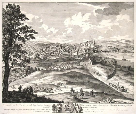 Prospect von des Uhralten und Beruhmten Haupt Stadt Meisse, Samt dem Vortrefflichen Hertzoglichen Schlosse Albregts-burg - Stará mapa