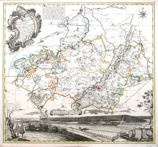 Accurate Geographische Delineation Des Stiffts Naumburg und Zeitz mit  Schul-Ambt Pforta, Pegau, Tautenburg und - Alte Landkarte