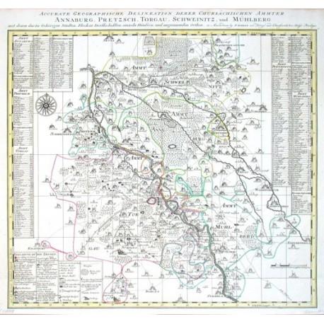 Accurate Geographische Delineation derer Chursächsischen Ammter Annaburg, Pretzsch, Torgau, Sweinitz, und Mühlberg