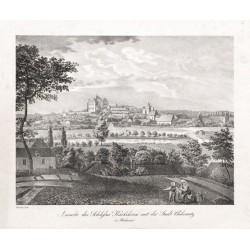 Ansicht des Schlosses Karlskron mit der Stadt Chlumetz in Böhmen