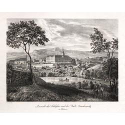 Ansicht des Schlosses und der Stadt Münchengrätz in Böhmen