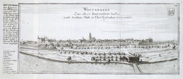 Wittenberg. Eine ihrer Universitaet halber weith berühmte Statt im Chur Fürstenthum Ober-Saxen - Alte Landkarte