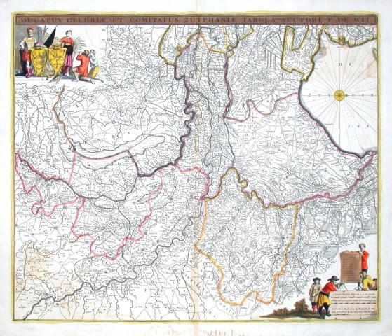 Ducatus Geldriae, et Comitatus Zutphaniae, tabula - Stará mapa