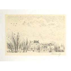 Pohled z okna na bubenečské vily