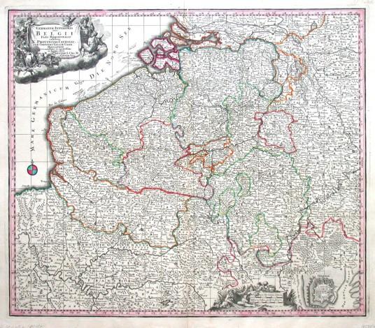 Germaniae inferioris sive Belgii pars meridionalis - Antique map