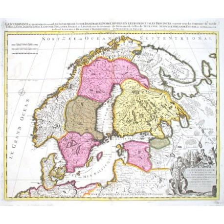La Scandinavie et les environs, ou sont les Royaumes de Suede, de Denemark. et de Norwege, divisese en leurs principales