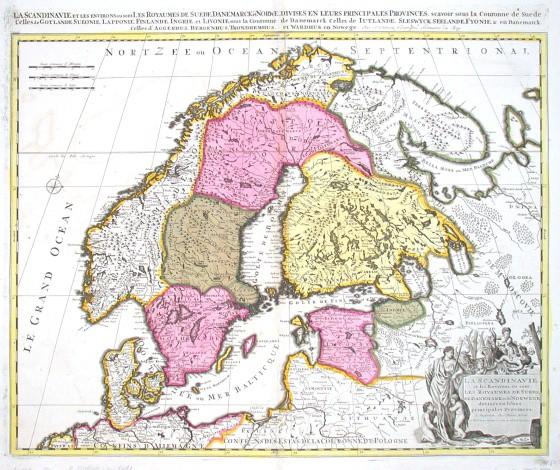 La Scandinavie et les environs, ou sont les Royaumes de Suede, de Denemark. et de Norwege, divisese en leurs principales - Alte Landkarte